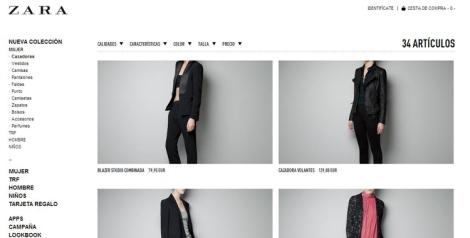 Vista galería de prendas y artículos Zara on-line