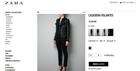 Detalle prenda Zara on-line