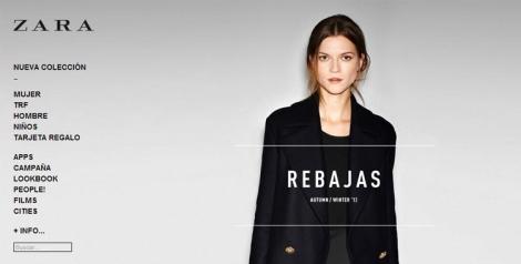 Zara on-line menú entrada
