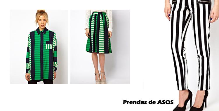 Falda y blusa de ASOS en color verde, combinando el blanco y el negro. Otra propuesta de pantalón