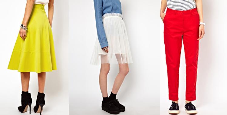 Asos: falda limón, falda tull de White Pepper y pantalón recto de Fred Perry
