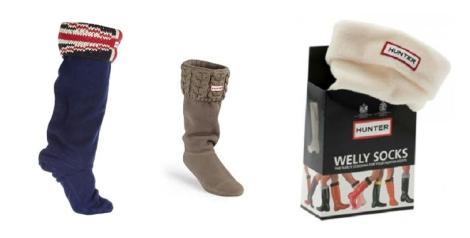 Varios modelos de calcetines Hunter que se acoplan a la bota de agua dándole un aire diferente