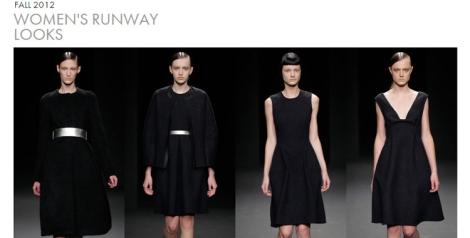Vestidos y prendas de Calvin Klein negros con vuelo en la parte inferior y cinturones para marcar la cintura y dar volumen a la cadera