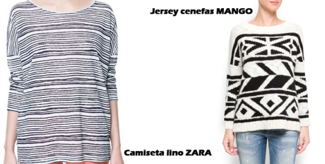 Camiseta de lino de Zara y jersey de Mango en blanco y negro