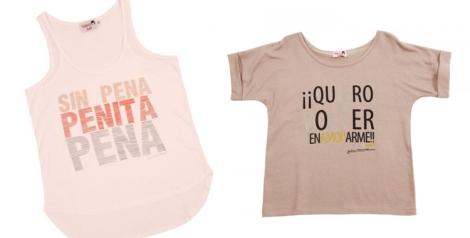Camisetas de Dolores con los mensajes Sin pena, penita, pena y Quiero volver a enamorarme