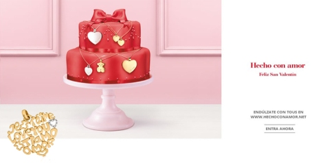 Homepage de Hecho con amor de Tous para San Valentín 2013 y colgante de oro de la firma