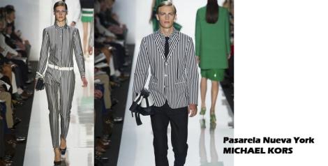 Pasarela Nueva York look rayas blanco y negro Michael Kors