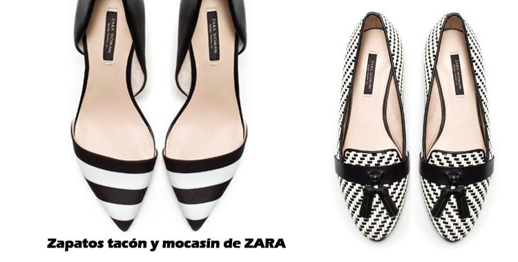 zapato tacon mocasin zara blanco y negro rayas destaca-te