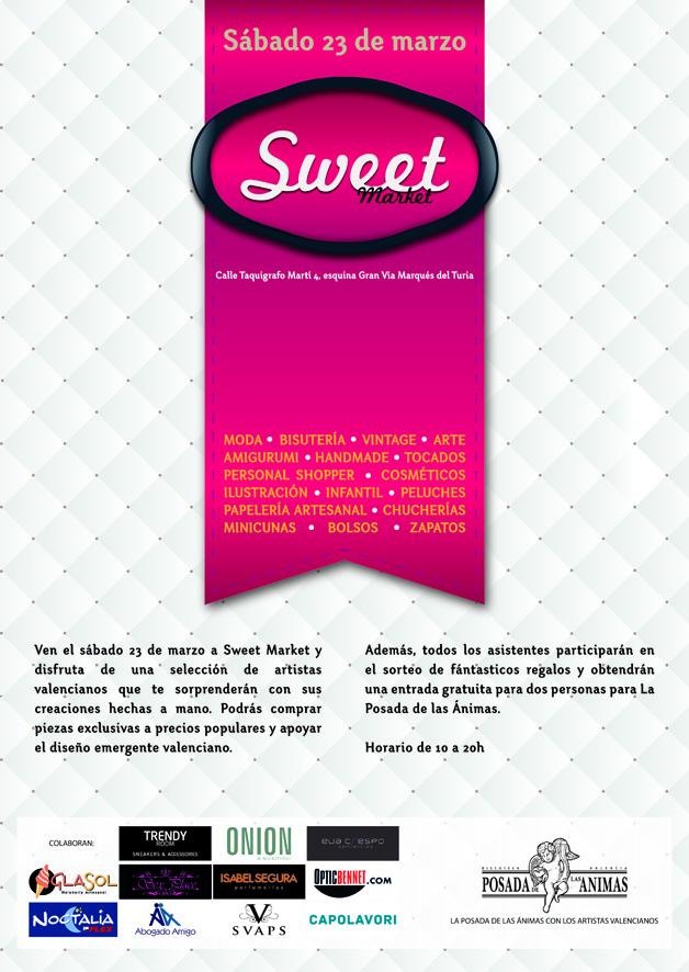 Cartel informativo de Sweet Market Valencia