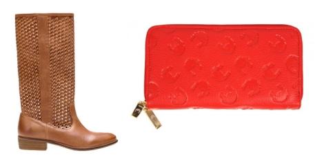 Cartera rapport en color rojo de Dolores Promesas y botas trenzadas en tono marrón de Stradivarius