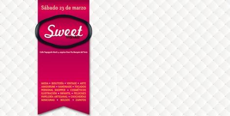 Detalle del cartel publicitario de Sweet Market Valencia