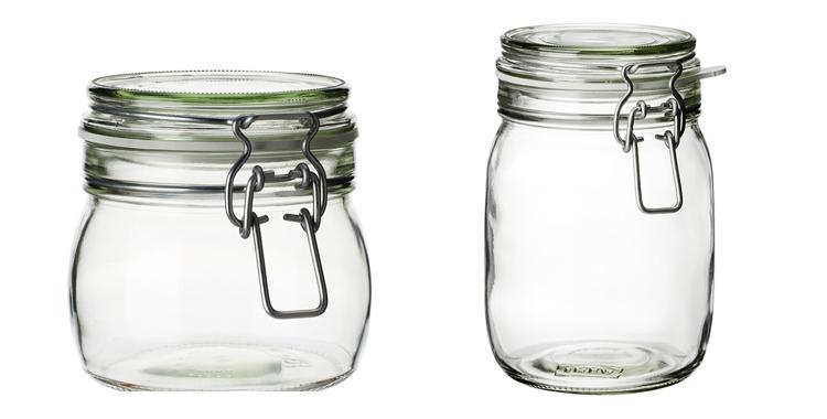 Tarro de cristal Jorken disponibles en Ikea por 1,99 y 2,59 euros respectivamente
