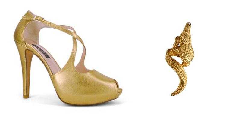 Zapatos de LODI para la temporada primavera verano 2013 en color dorado y sortija de Aristocrazy