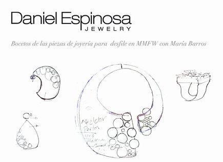 Detalle boceto de Daniel Espinosa para la diseñadora María Barros en la Madrid Fashion Week