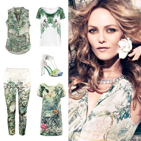 Vanessa Paradis con algunas de las prendas que forman parte de la colección