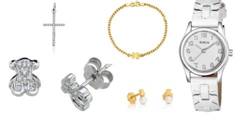 Propuesta de joyería Tous para niña en oro amarillo y blanco