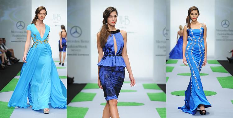 Colores frios. Azul en distintos tonos para vestidos con vuelo y cóctel con peplum a la cintura