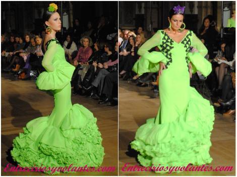 El verde protagoniza estas dos propuestas de la diseñadora cordobesa