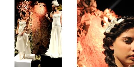 Vestido de novia y tocado de Macario Jiménez