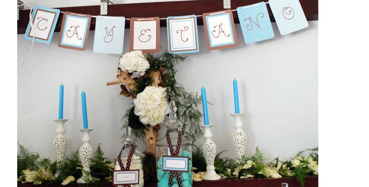 Otro ejemplo de presentación en tonos azul, blanco y marrón