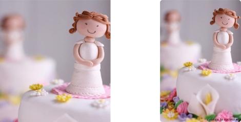 Magnífica tarta de comunión para niña elaborada por Lola en la cocina