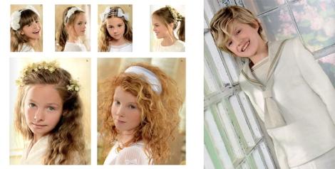 Traje de lino niño comunión en tonos claros y detalle de tocados, diademas y lazos para niña de El Corte Inglés