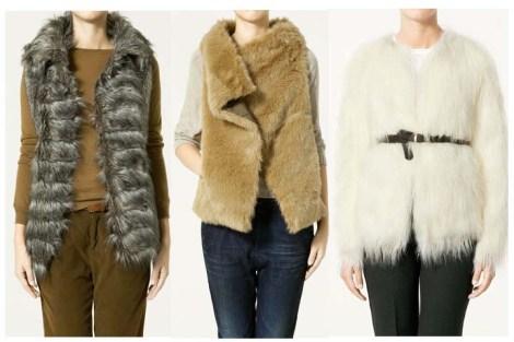 Tres de los chalecos de pelo de Zara