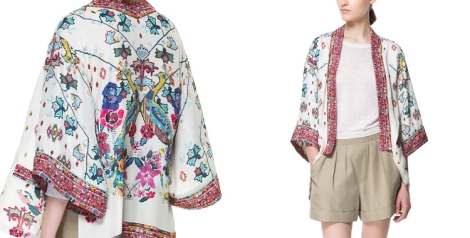 Kimono fluido estampado de Zara
