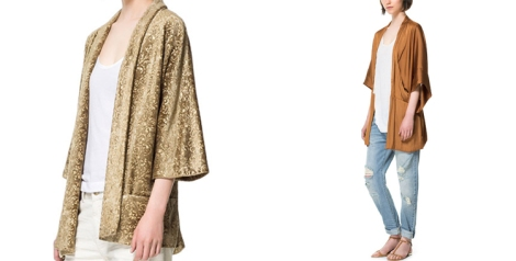 kimono fluido de Zara y kimono de terciopelo de la misma marca en tonos marrones
