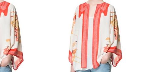 Kimono manga japonesa de Zara con uno de los tonos de moda esta temporada: el coral