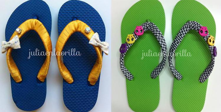 Chanclas e imágenes de Julia en la Orilla. Hechas a mano