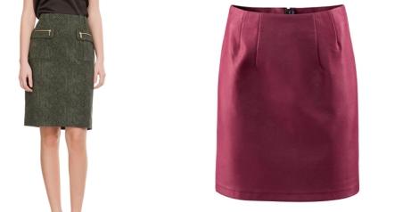 Imágenes de nterate.wordpress.com y Cortefiel. Faldas rectas o en forma de A