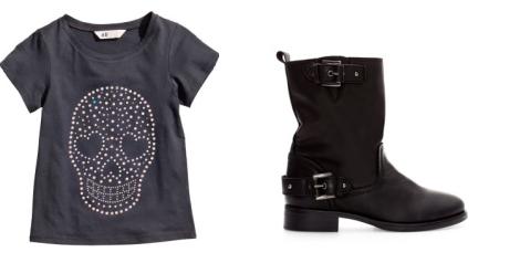 Camiseta con calavera de H&M y botas moteras de Zara Kids