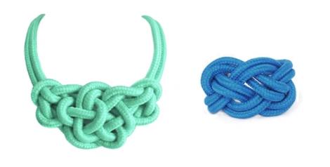 Collar mint y pulsera azul marino de nudos de Makedoonia