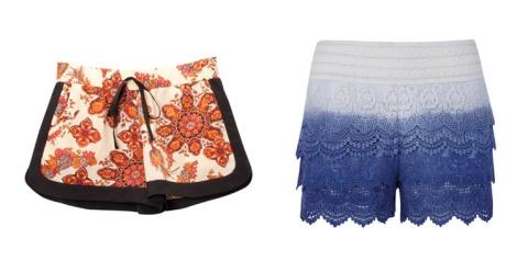 Shorts de Stradivarius estampado y de Sweet Blanco. Sin duda dos de los modelos más buscados este verano