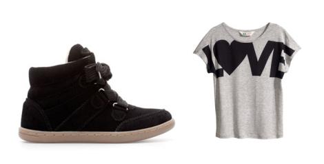 Una opción más esport con zapatilla abotinada de Zara Kids y camiseta con mensaje de H&M
