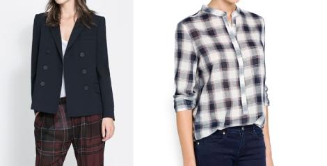 El blazer sigue un año más siendo una pieza clave para vestir con elegancia otras prendas más casual como los vaqueros (blazer Zara 49.95 euros) y Camisa cuadros de Mango (19.95 euros)