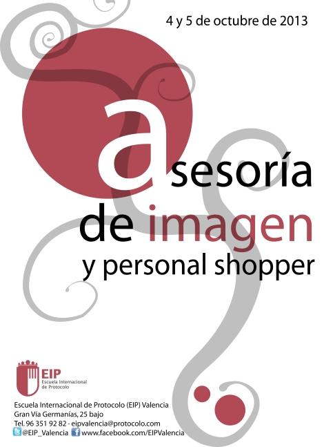 Cartel promocional del curso de Asesoría de Imagen y Personal Shopper que se impartirá en la Escuela Internacional de Protocolo de Valencia el próximo 4 y 5 de octubre