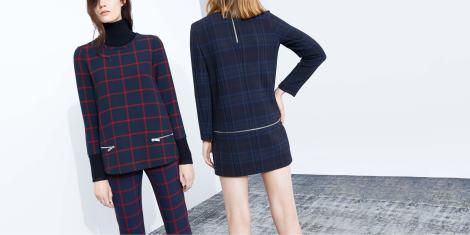 Imagen de portada web oficial de Zara con prendas a cuadros