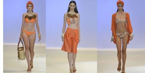 El color del atardecer y el amanecer africano se refleja en los tonos anaranjados de los trajes de baño y complementos de Juana Martín