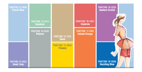 Imagen de Pantone con las sugerencias de color para mujer