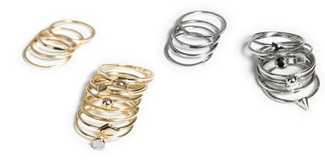 Packs de anillos plata y dorado de Zara