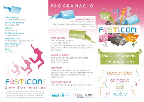 Programa del Festicom que se celebrará en Torrent el próximo sábado
