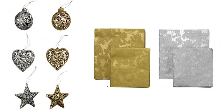 Adornos Glitter de Casa con diferentes formas en dorado y plata y servilletas de papel de Casa