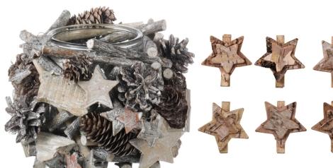 Centro de mesa y pinzas con forma de estrella de El Corte Inglés