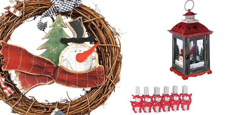 Corona de muñeco de nieve, pinzas de reno y portavelas de El Corte Inglés