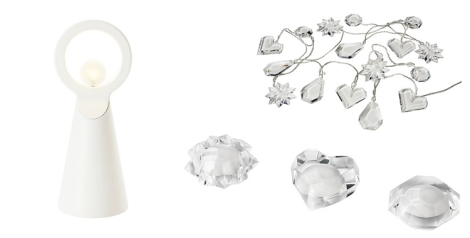 Ángel, decoración e iluminación de Strala de Ikea. El cristal y el blanco creará luces especiales que harán mágico el ambiente de tu hogar