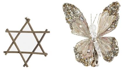 Estrella de madera de Kenay Home y clip mariposa de El Corte Inglés con brillos