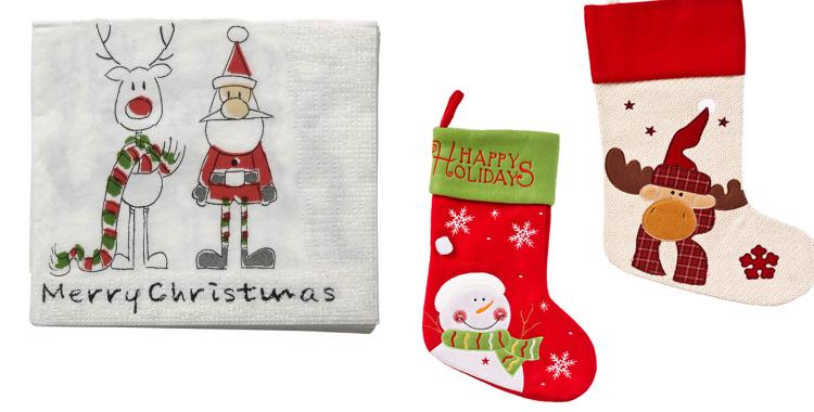 Servilletas con motivos navideños de Casa y calcetines de El Corte Inglés