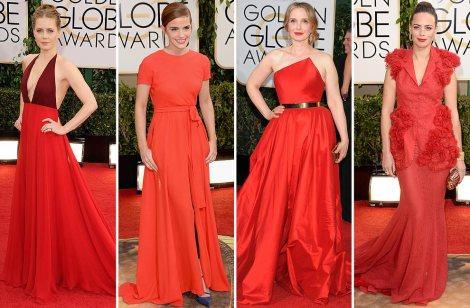 Selección de vestidos en color rojo de la última edición de los Globos de Oro por la revista Hola